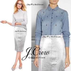 J. Crew Collection silver leather pencil skirt
